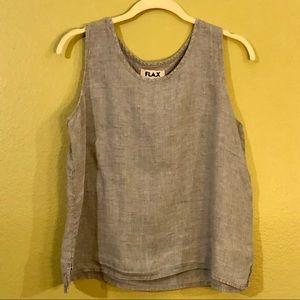 Flax sleeveless top, 100% linen, light blue, GUC.